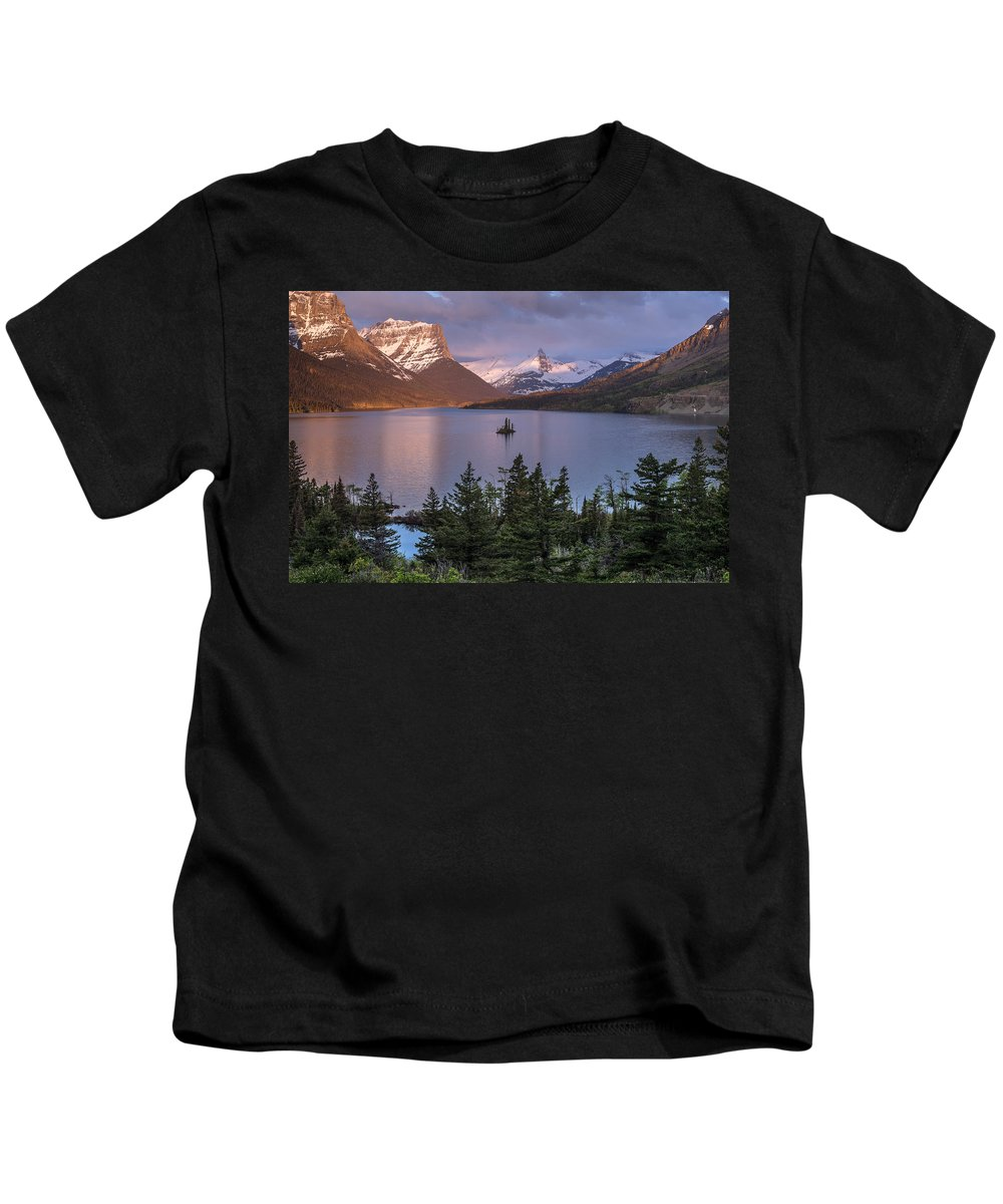 Glacier National Park Kids T-Shirt featuring the photograph Wild Goose Island 2 by Greg Nyquist