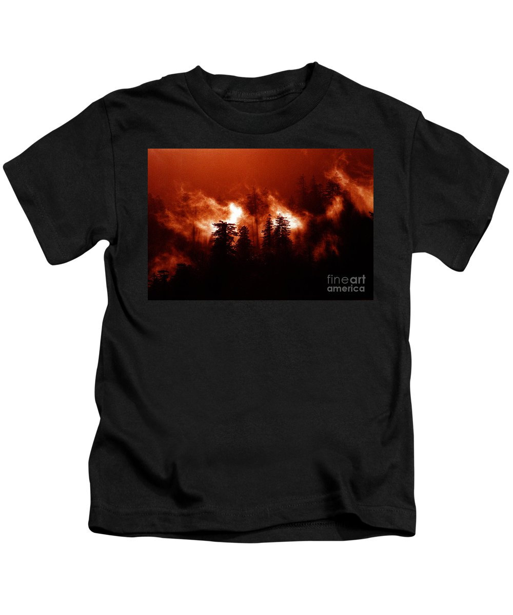 Raging Fire Kids T-Shirt featuring the mixed media Wildfire by Mike Nellums