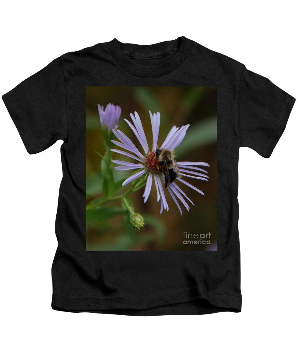Purple Kids T-Shirt featuring the photograph Wildflower Bee by Grace Grogan