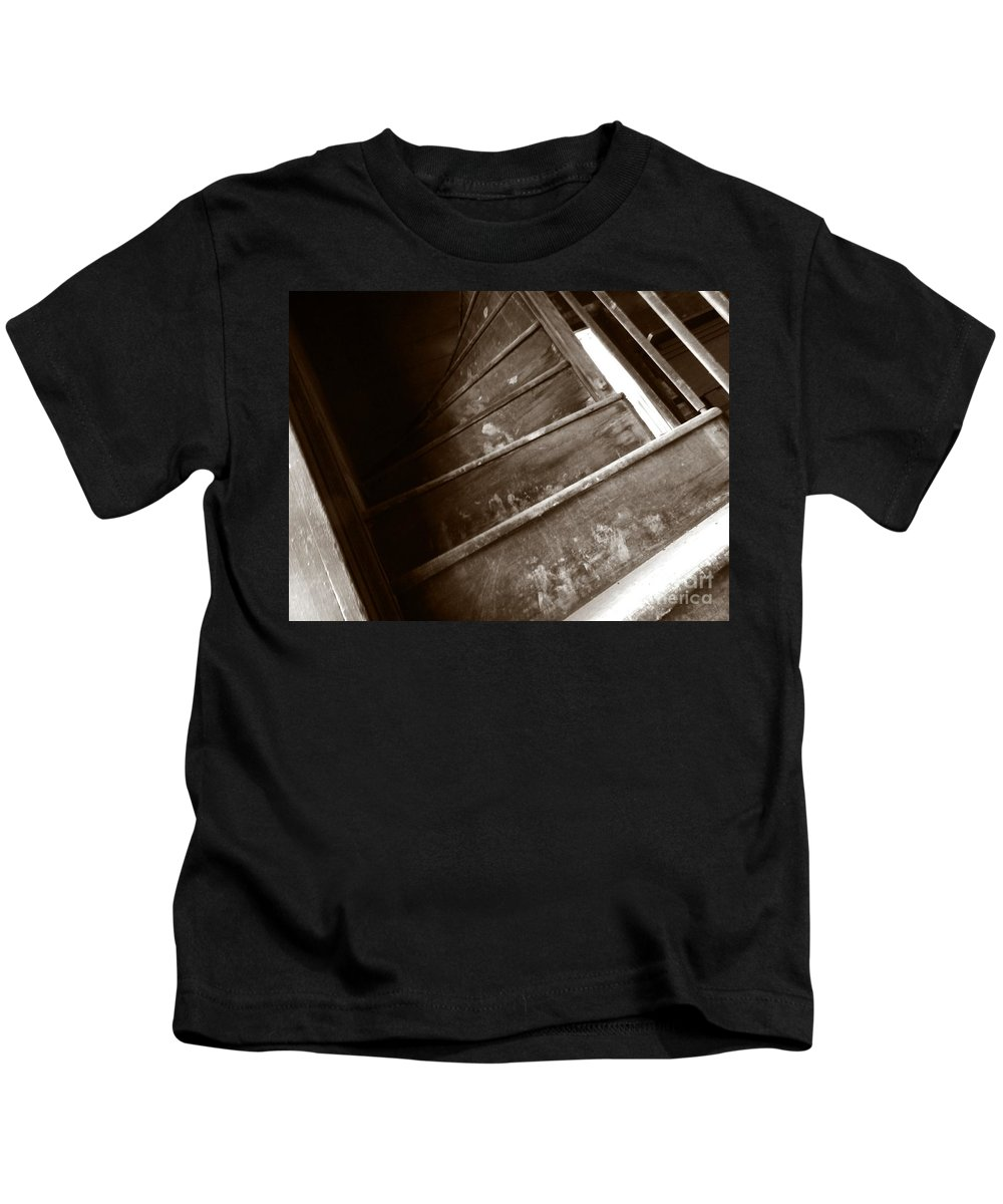 Sepia Kids T-Shirt featuring the photograph Winding Staircase by Charleen Treasures