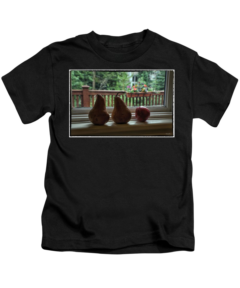 Pears Kids T-Shirt featuring the photograph Windowsill 1 by Madeline Ellis
