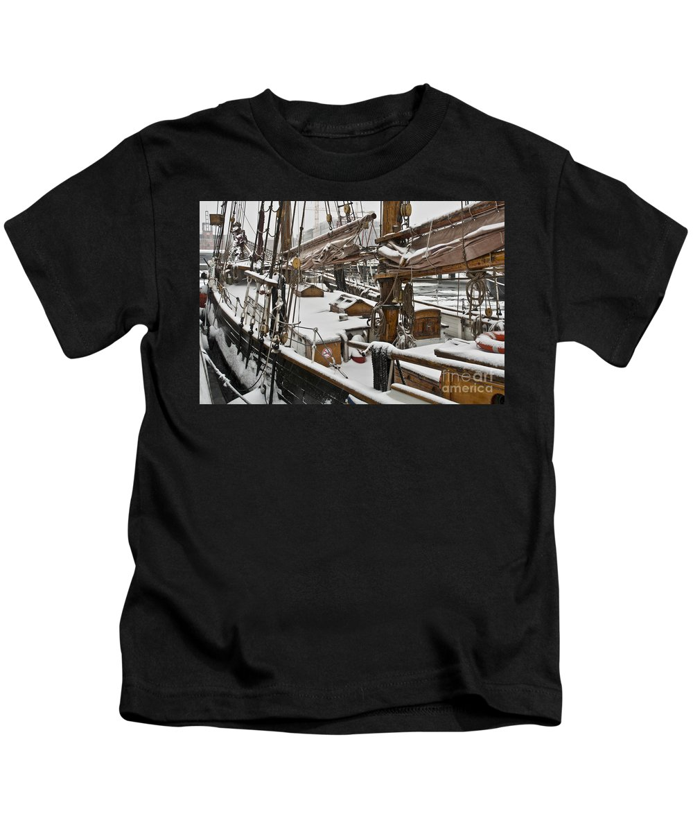 Europe Kids T-Shirt featuring the photograph Winter On Deck by Heiko Koehrer-Wagner