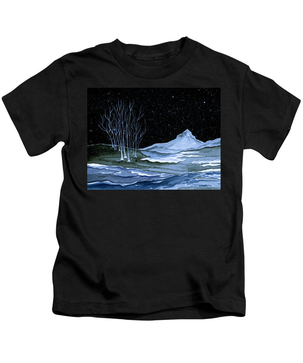 Landscape Kids T-Shirt featuring the painting Winter Solstice by Brenda Owen