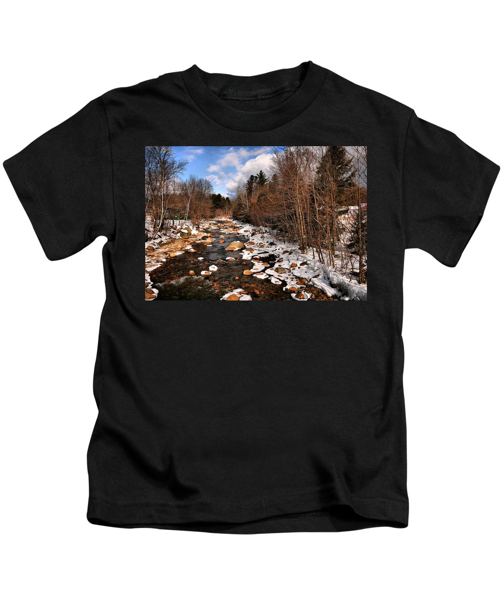 Winter Kids T-Shirt featuring the photograph Winter Stream by Nancie DeMellia
