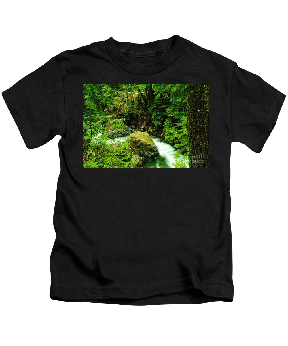 Rocks Kids T-Shirt featuring the photograph Working Around The Big Rock  by Jeff Swan