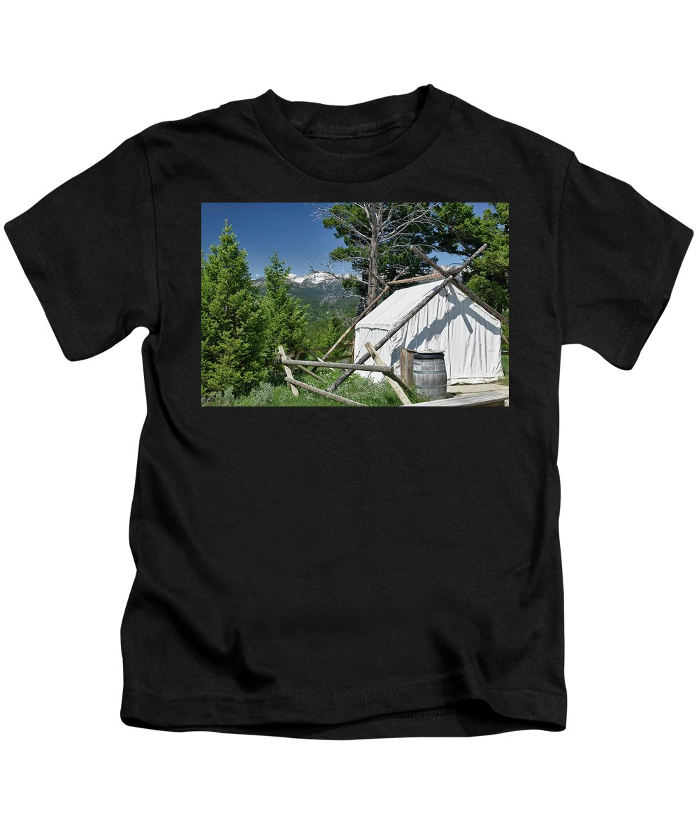 Americas Kids T-Shirt featuring the photograph Wrangler Tent With A View by Roderick Bley