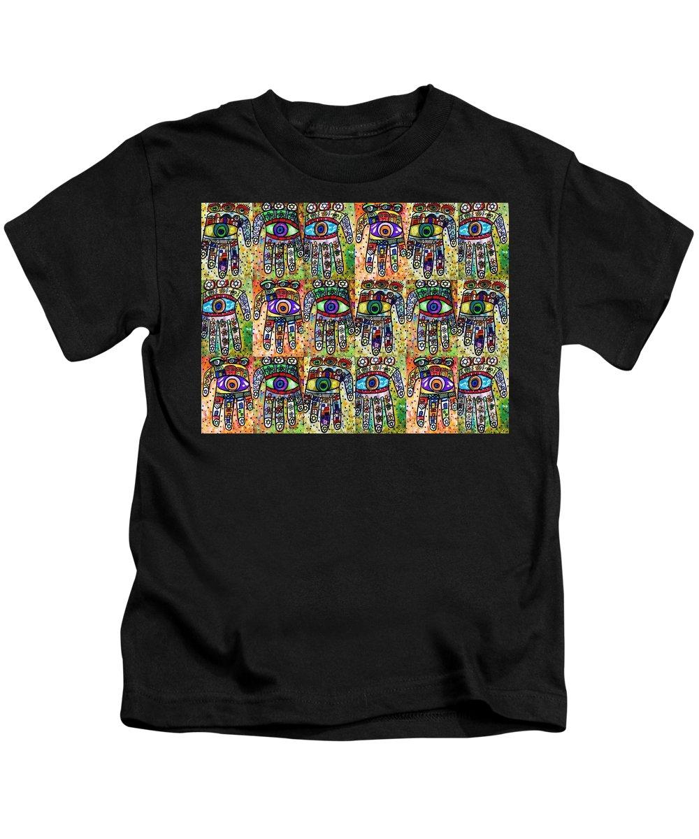Kids T-Shirt featuring the painting x 18 Vintage Talavera Hamsas by Sandra Silberzweig