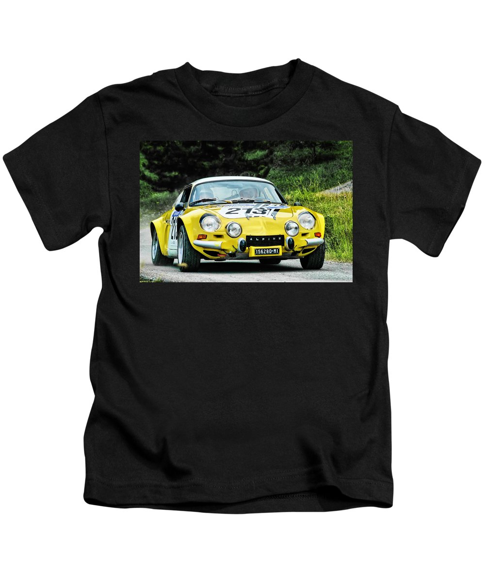 Car Kids T-Shirt featuring the photograph Yellow Alpine Renault by Alain De Maximy