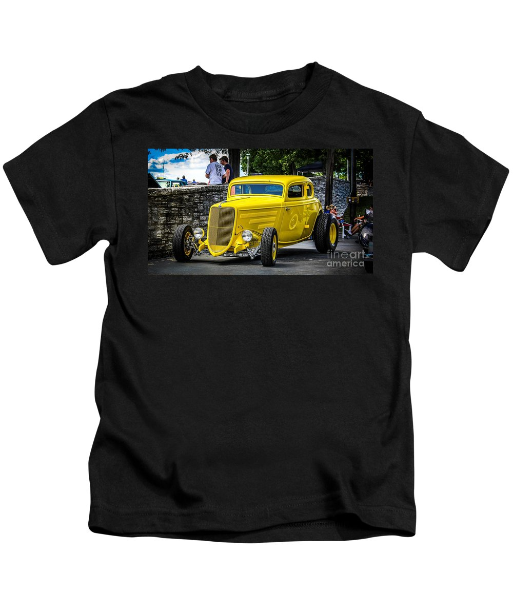 Car Kids T-Shirt featuring the photograph Yellow Rod by Perry Webster