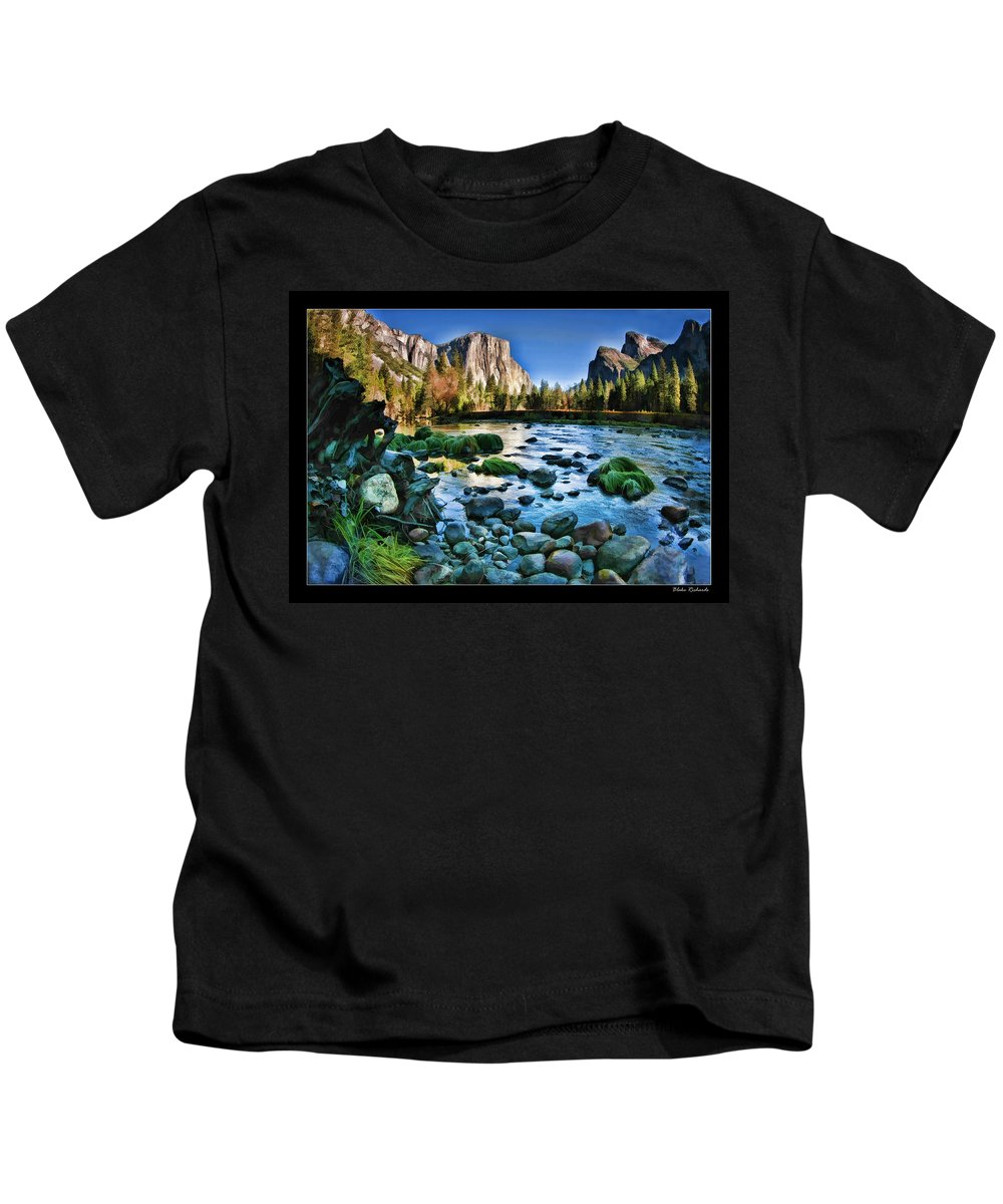 Art Photography Kids T-Shirt featuring the photograph Yosemite Rocks In River by Blake Richards