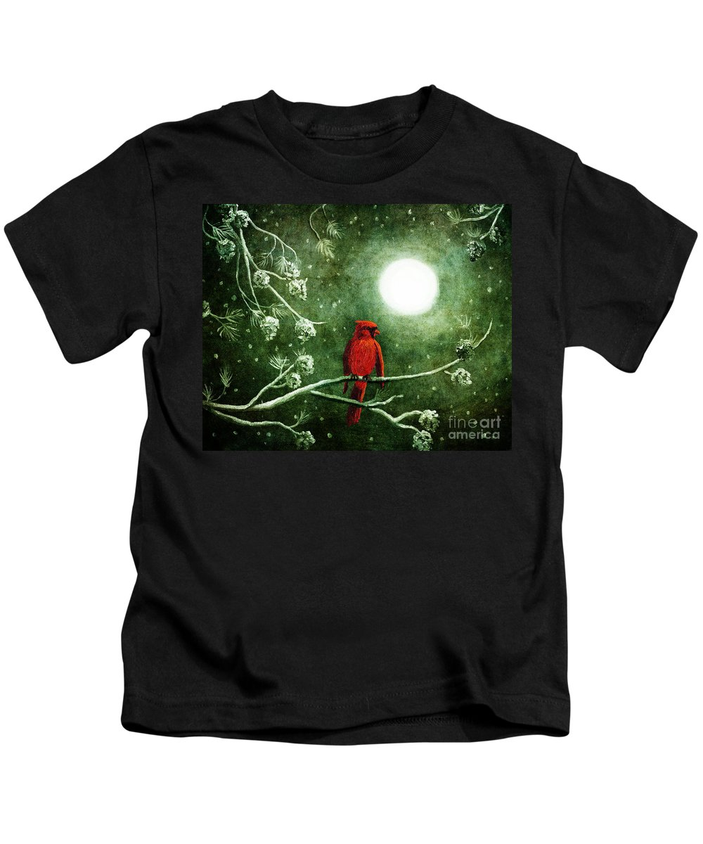 Christmas Kids T-Shirt featuring the digital art Yuletide Cardinal by Laura Iverson