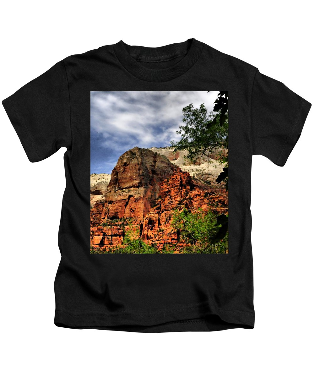 Kids T-Shirt featuring the photograph Zion As Water Color by Mark Valentine