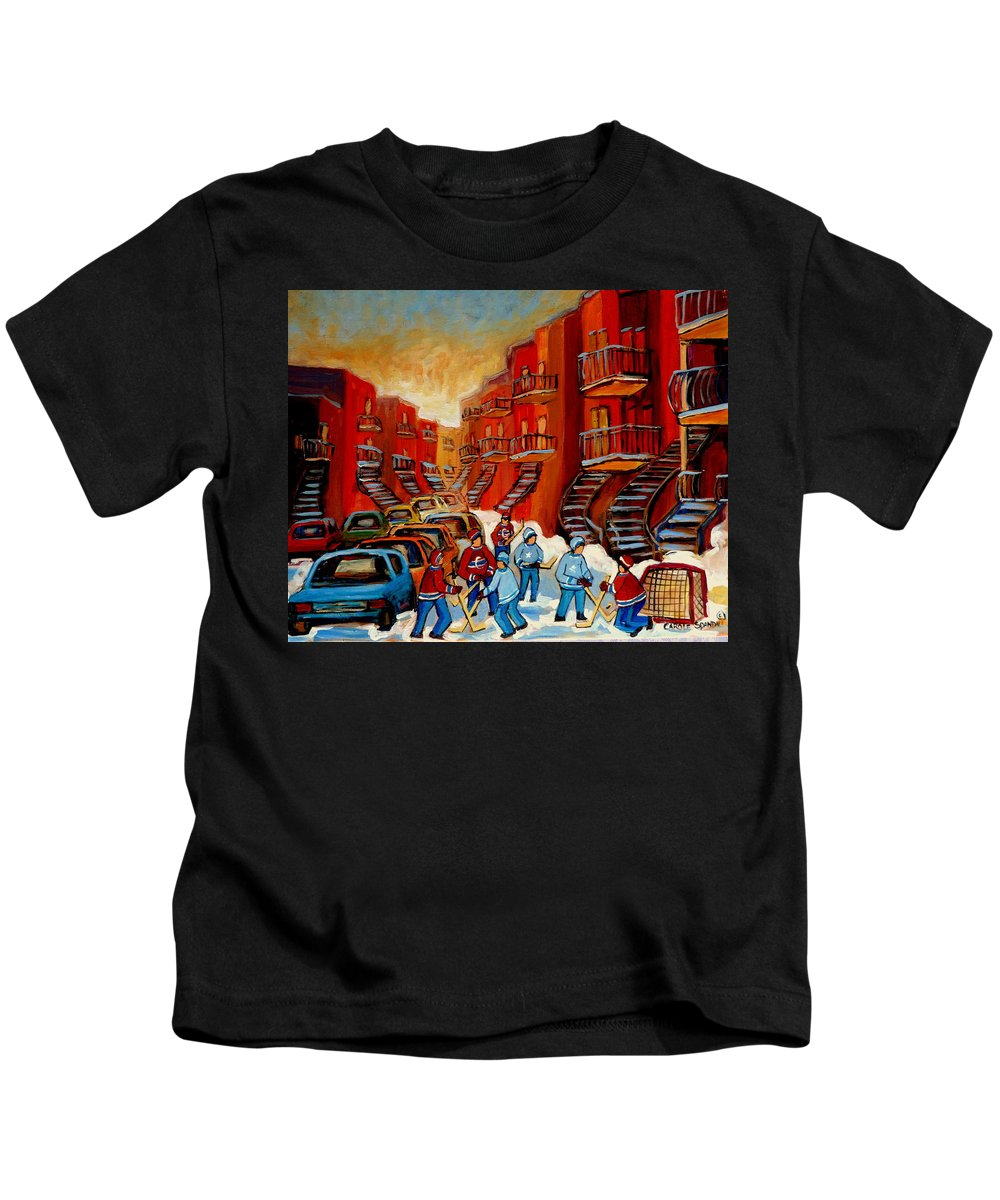 Hockey Kids T-Shirt featuring the painting A Beautiful Day For The Game by Carole Spandau