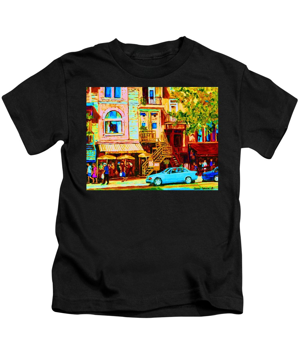 Cafe Art Kids T-Shirt featuring the painting Beautiful Cafe Soleil by Carole Spandau