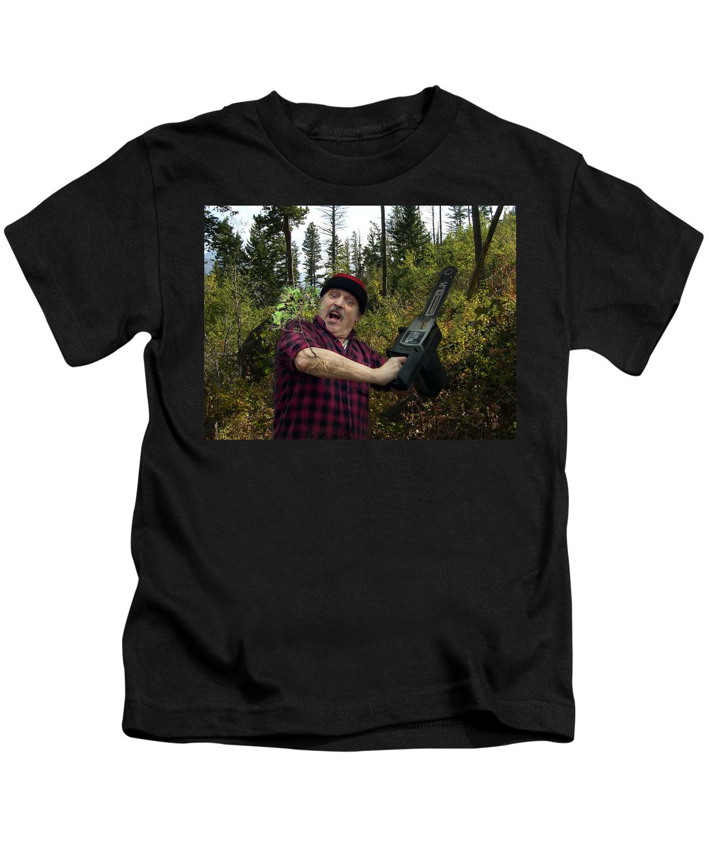 Surrealism Fantastic+realism Cloning Parasites Lumberjack Chainsaw Selfportrait Kids T-Shirt featuring the digital art I Am A Lumberjack I Am Ok by Otto Rapp