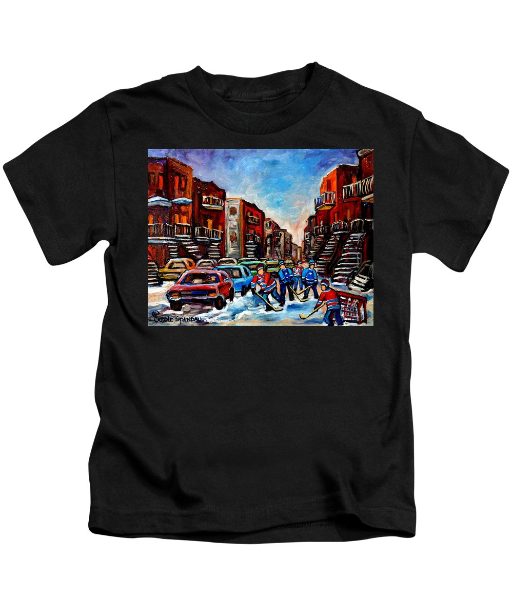 Montreal Kids T-Shirt featuring the painting Late Afternoon Street Hockey by Carole Spandau