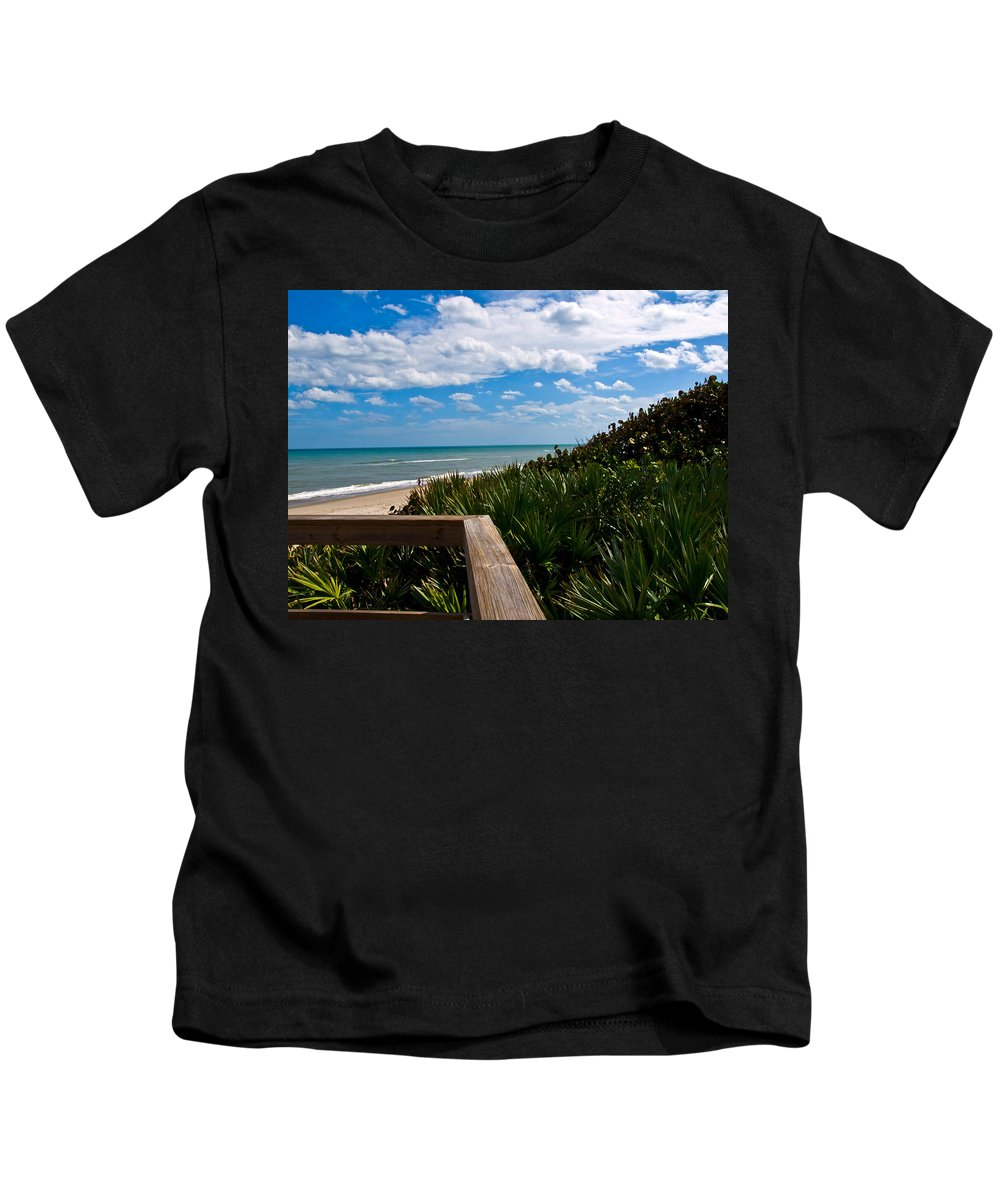 Beach; February; Florida; Warm; Warmth; Temperature; Degrees; Weather; Sun; Melbourne; Sand; Shore; Kids T-Shirt featuring the photograph Melbourne Beach On The East Coast Of Florida by Allan Hughes