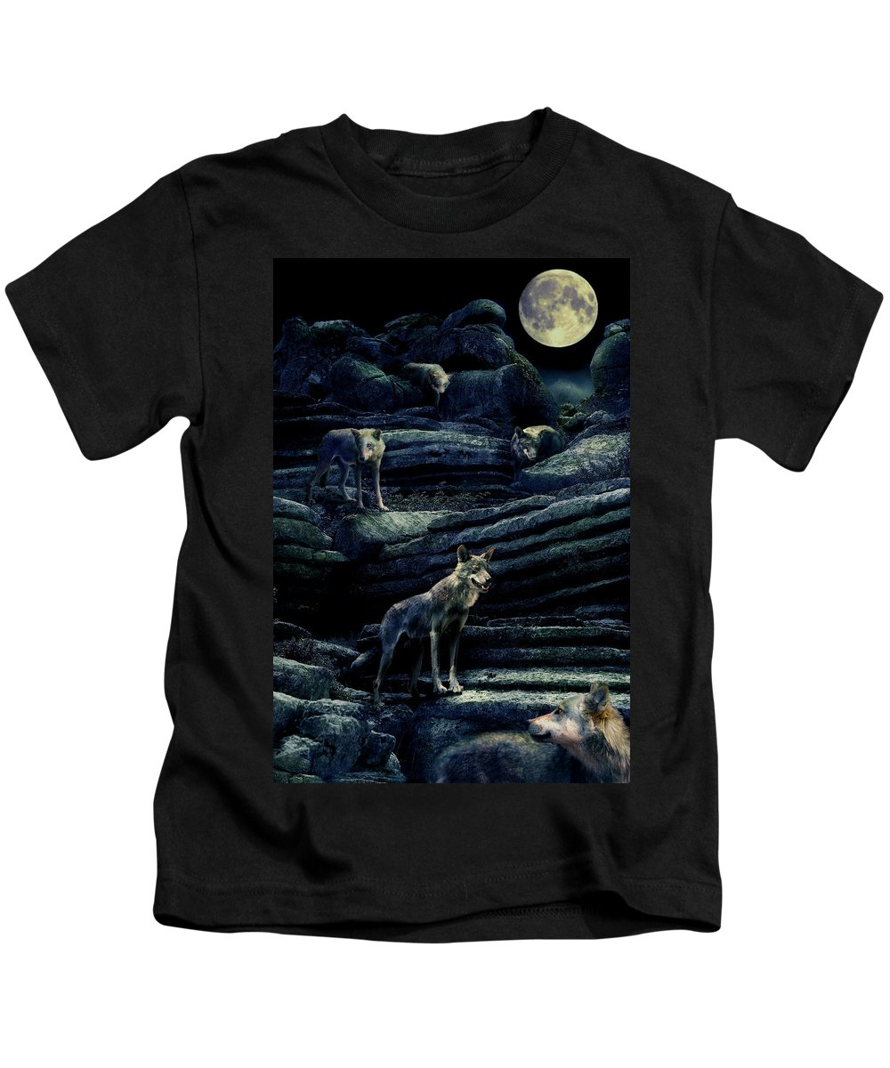 Wolf Kids T-Shirt featuring the photograph Moonlit Wolf Pack by Mal Bray