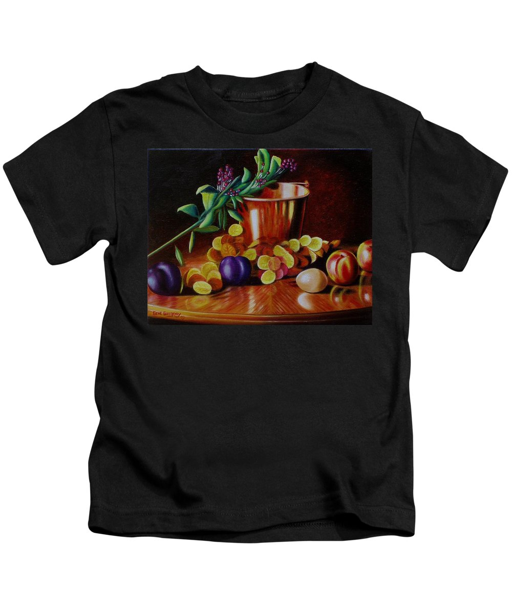 Still Life. Bucket Kids T-Shirt featuring the painting Pail Of Plenty by Gene Gregory