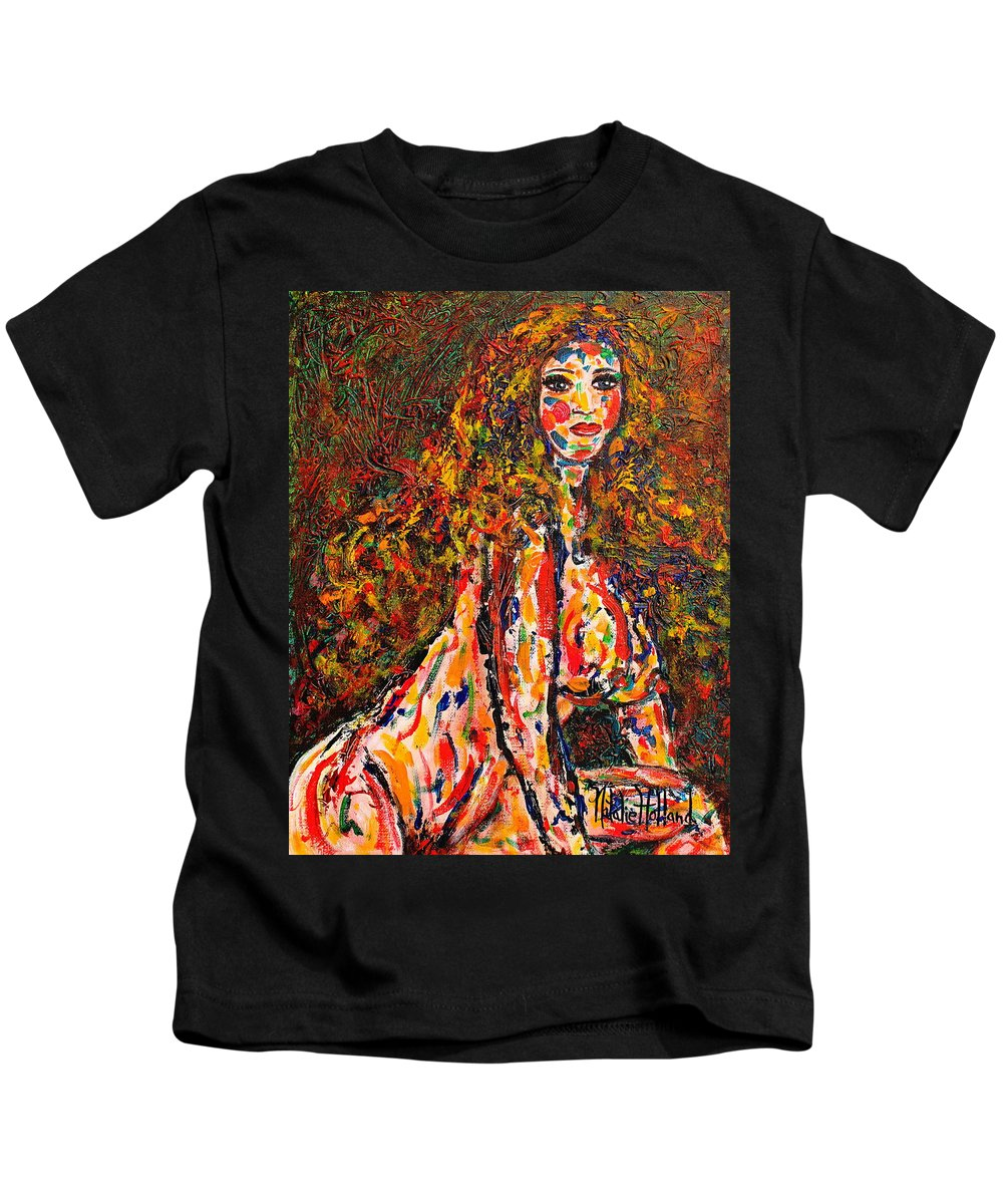Expressionsim Kids T-Shirt featuring the painting The Wild Woman by Natalie Holland