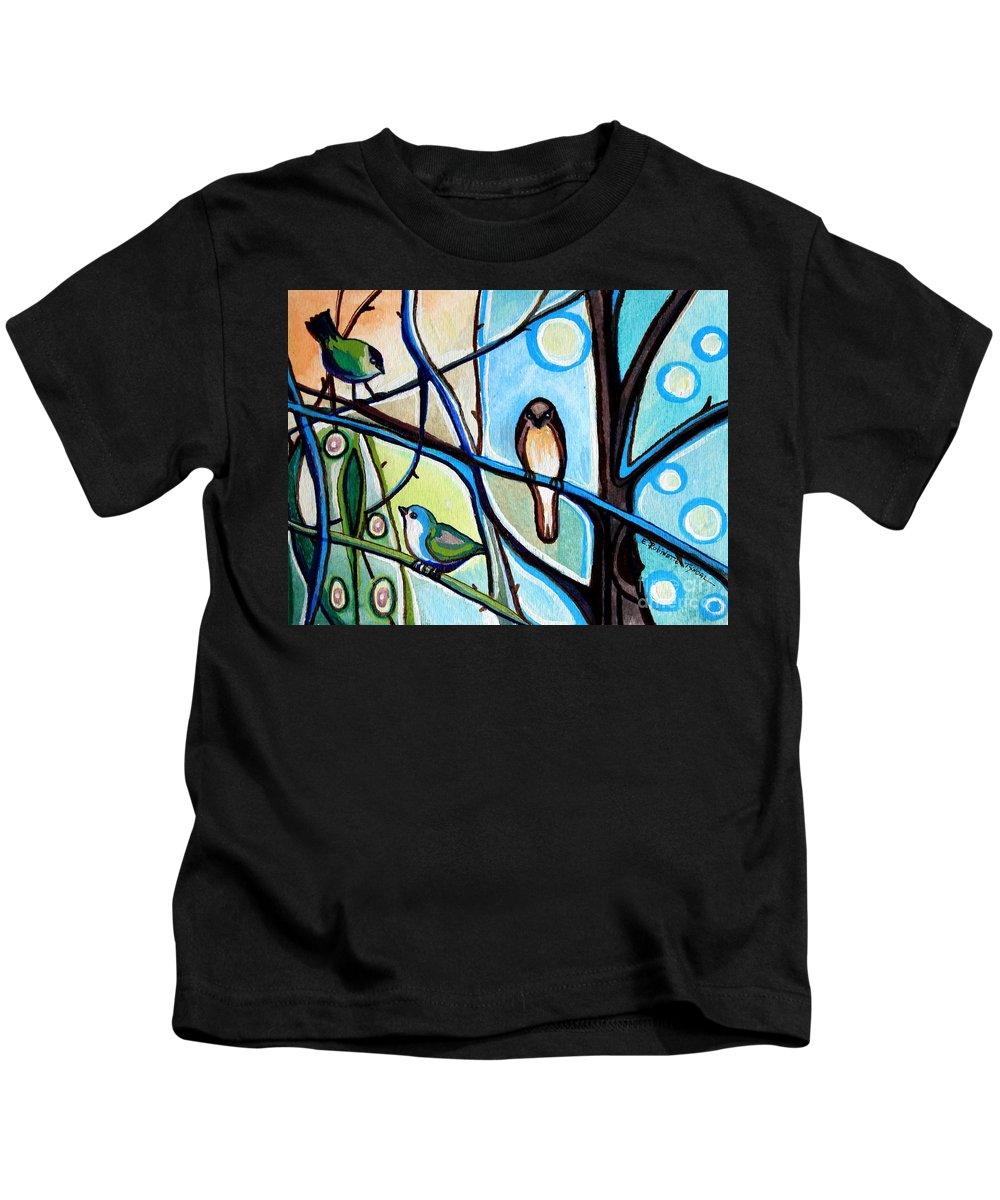 Bird Kids T-Shirt featuring the painting Three Birds by Elizabeth Robinette Tyndall