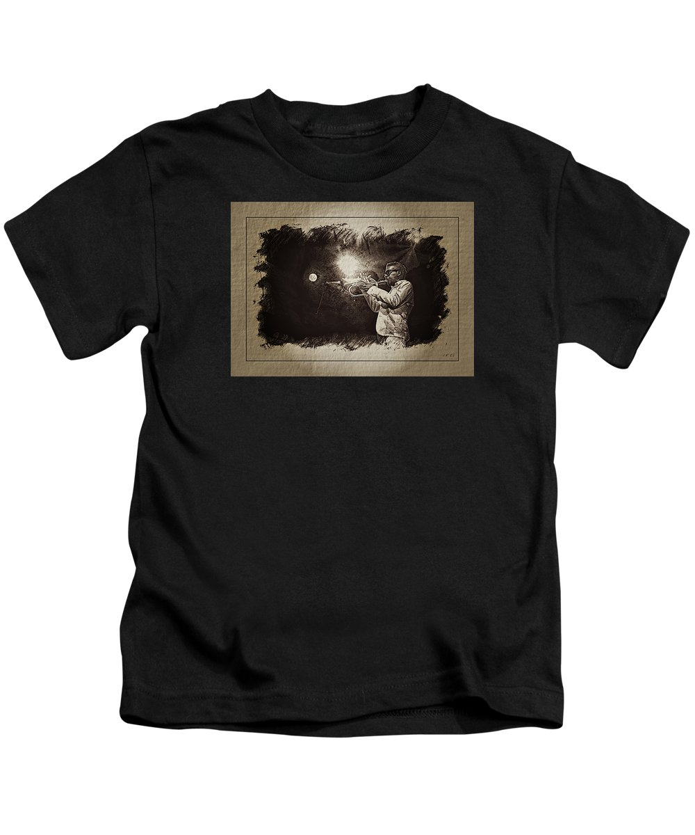 Roy Hargrove Kids T-Shirt featuring the photograph Trompettiste, Jazz, Blues, by Jean Francois Gil