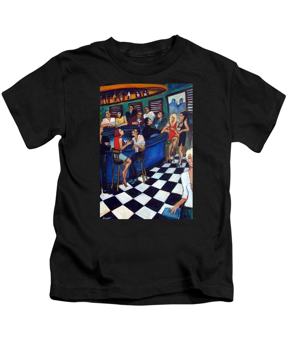 Chicago Style Bar Kids T-Shirt featuring the painting 32 East by Valerie Vescovi