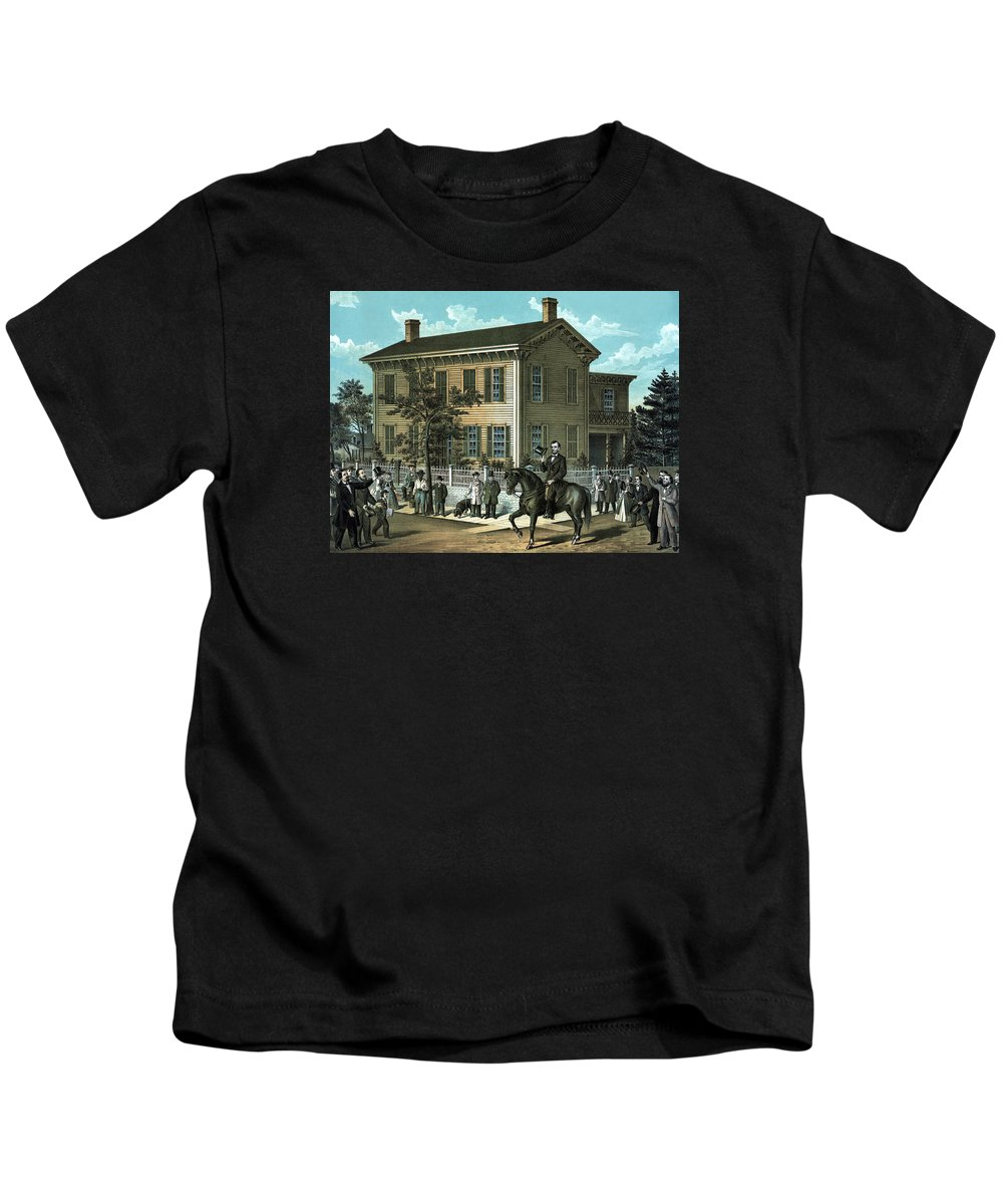 Abraham Lincoln Kids T-Shirt featuring the painting Abraham Lincoln's Return Home by War Is Hell Store