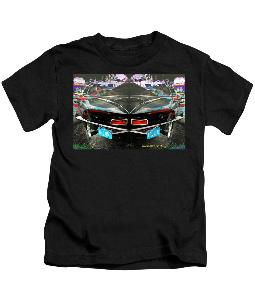 Cars Kids T-Shirt featuring the photograph Abstract Black Car by Karl Rose