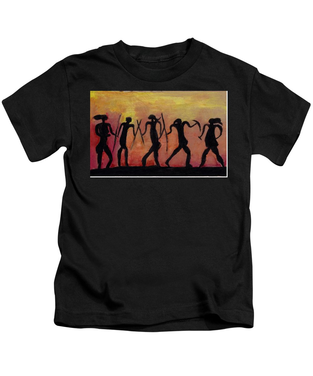 Kids T-Shirt featuring the drawing Africa by Adam Schrenk