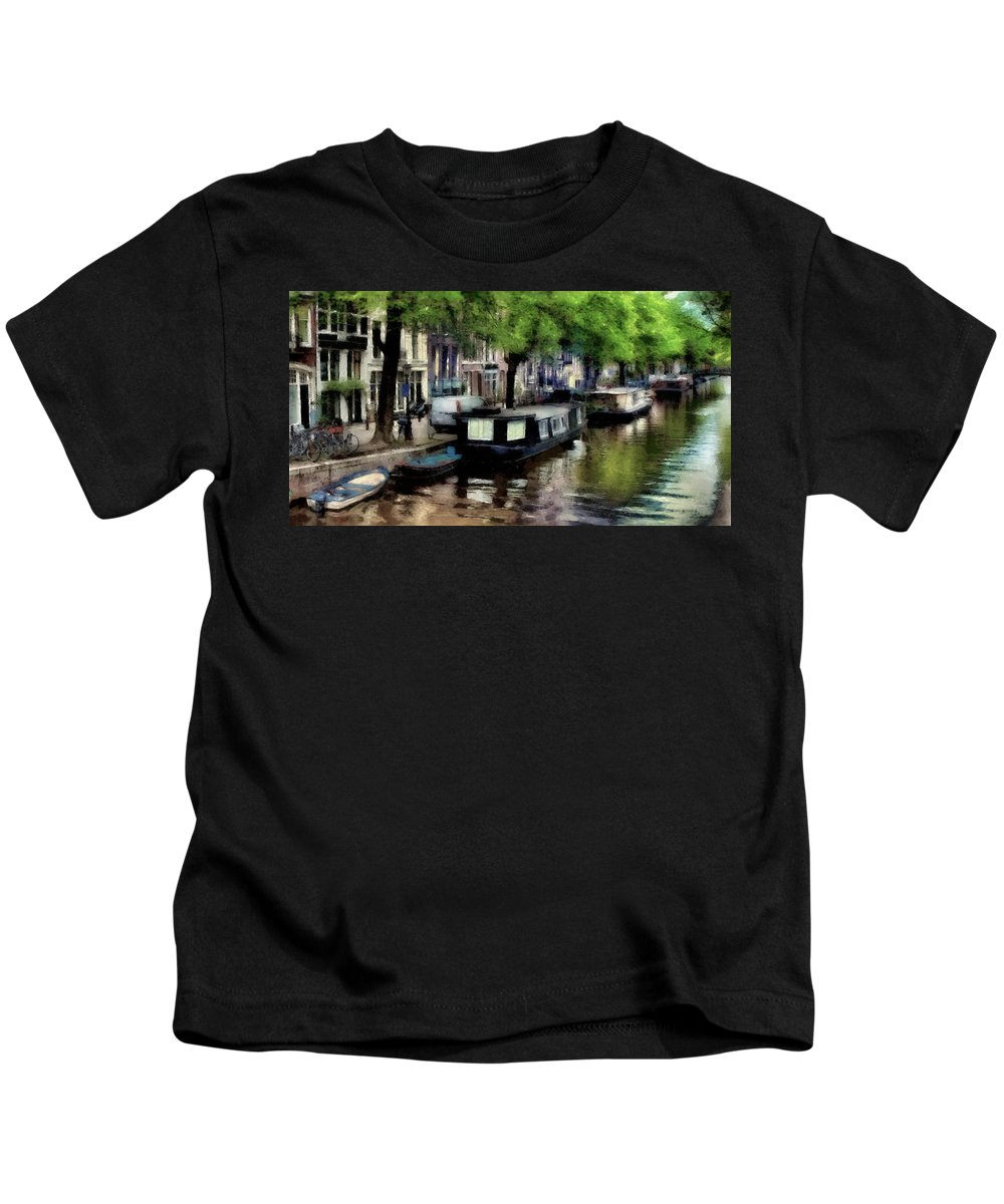 Painting Kids T-Shirt featuring the digital art Amsterdam Canals by Russ Harris