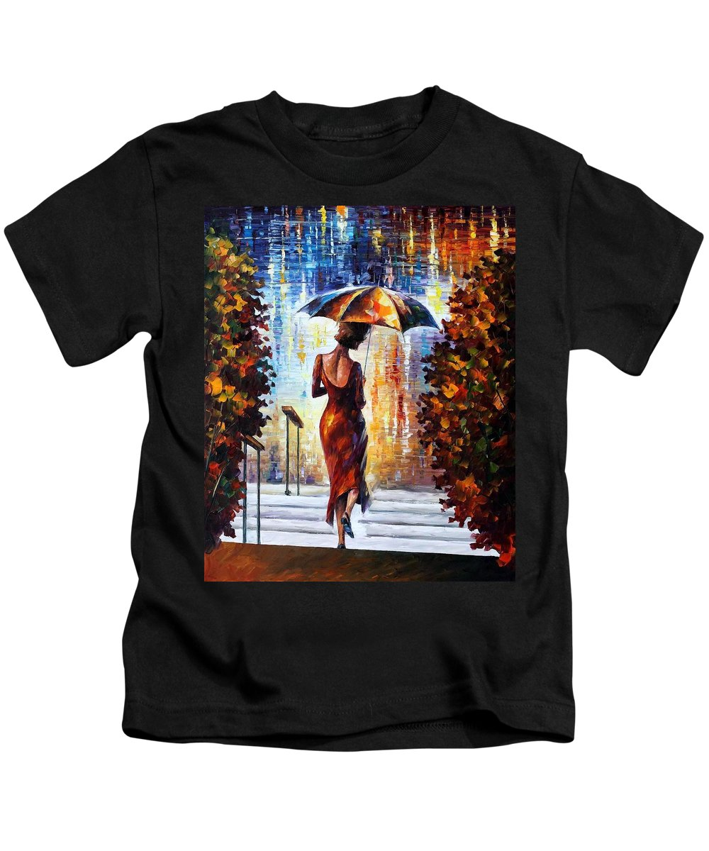 Afremov Kids T-Shirt featuring the painting At The Steps by Leonid Afremov