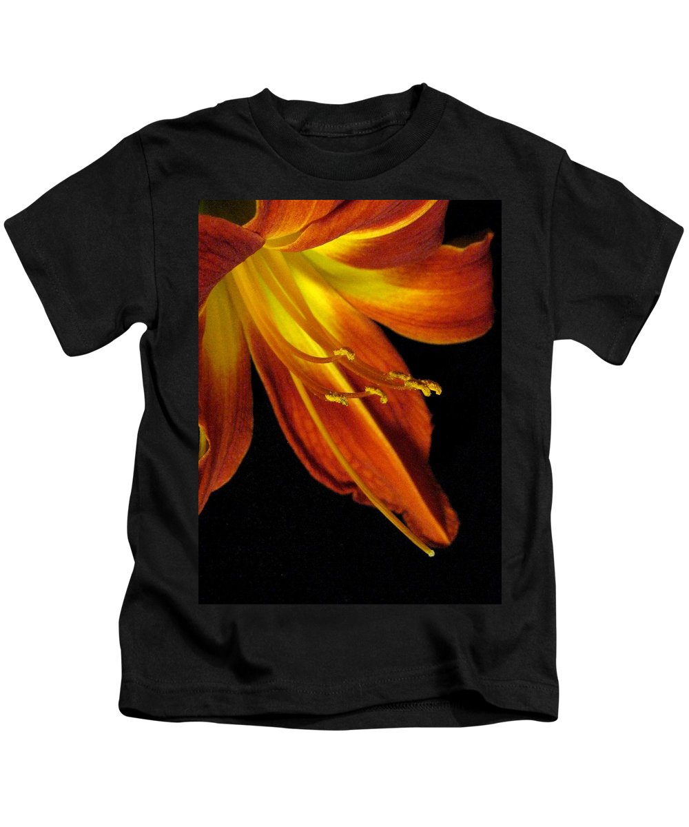 Red Kids T-Shirt featuring the photograph August Flame Glory by Carolyn Jacob