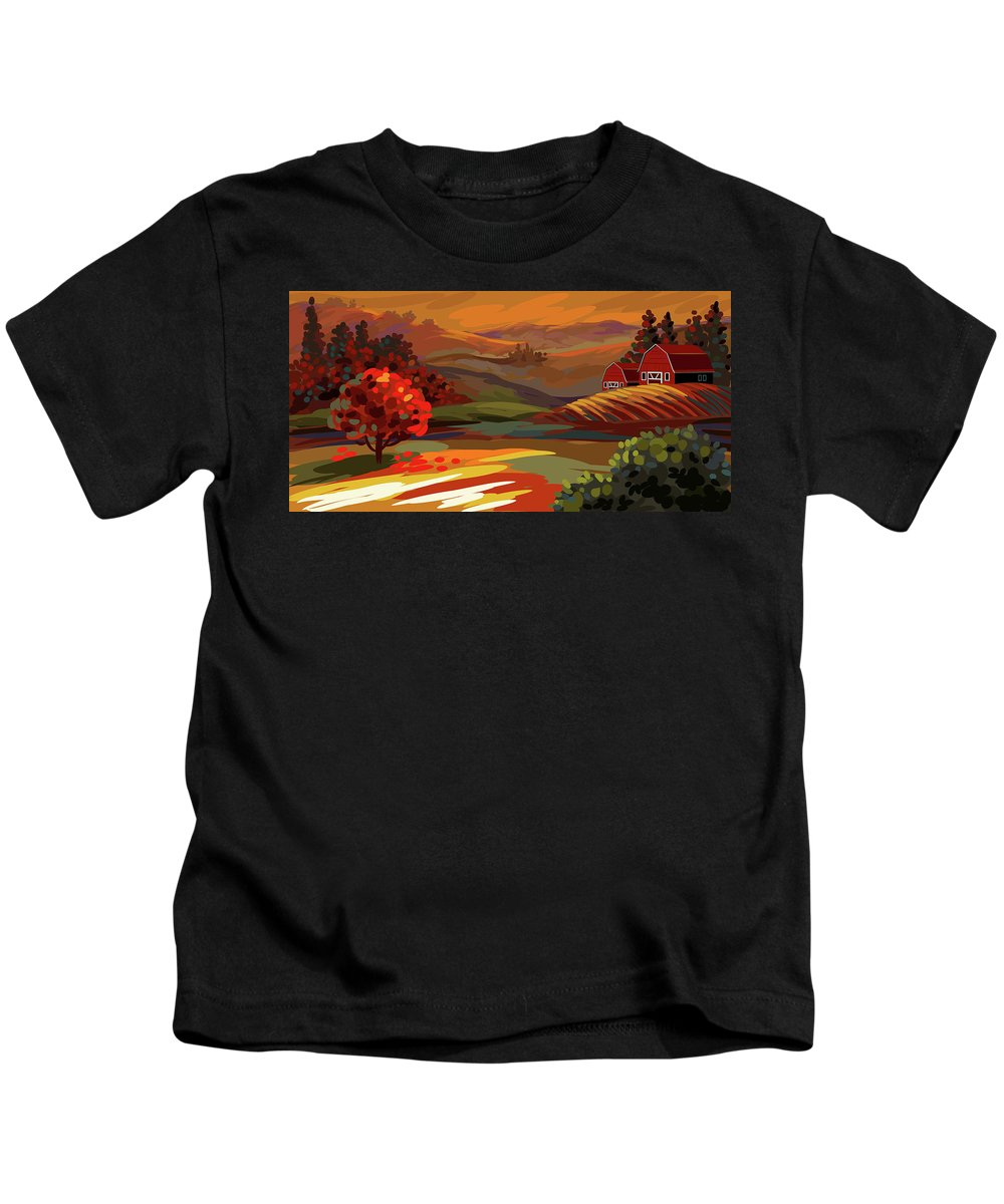Autumn Kids T-Shirt featuring the painting Autumn Landscape by Gajanan Bhat
