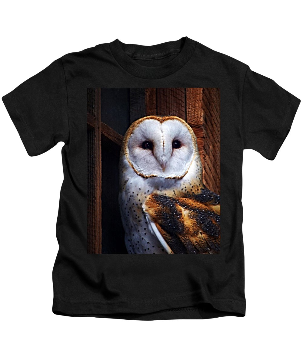 Digital Painting Kids T-Shirt featuring the photograph Barn Owl by Anthony Jones