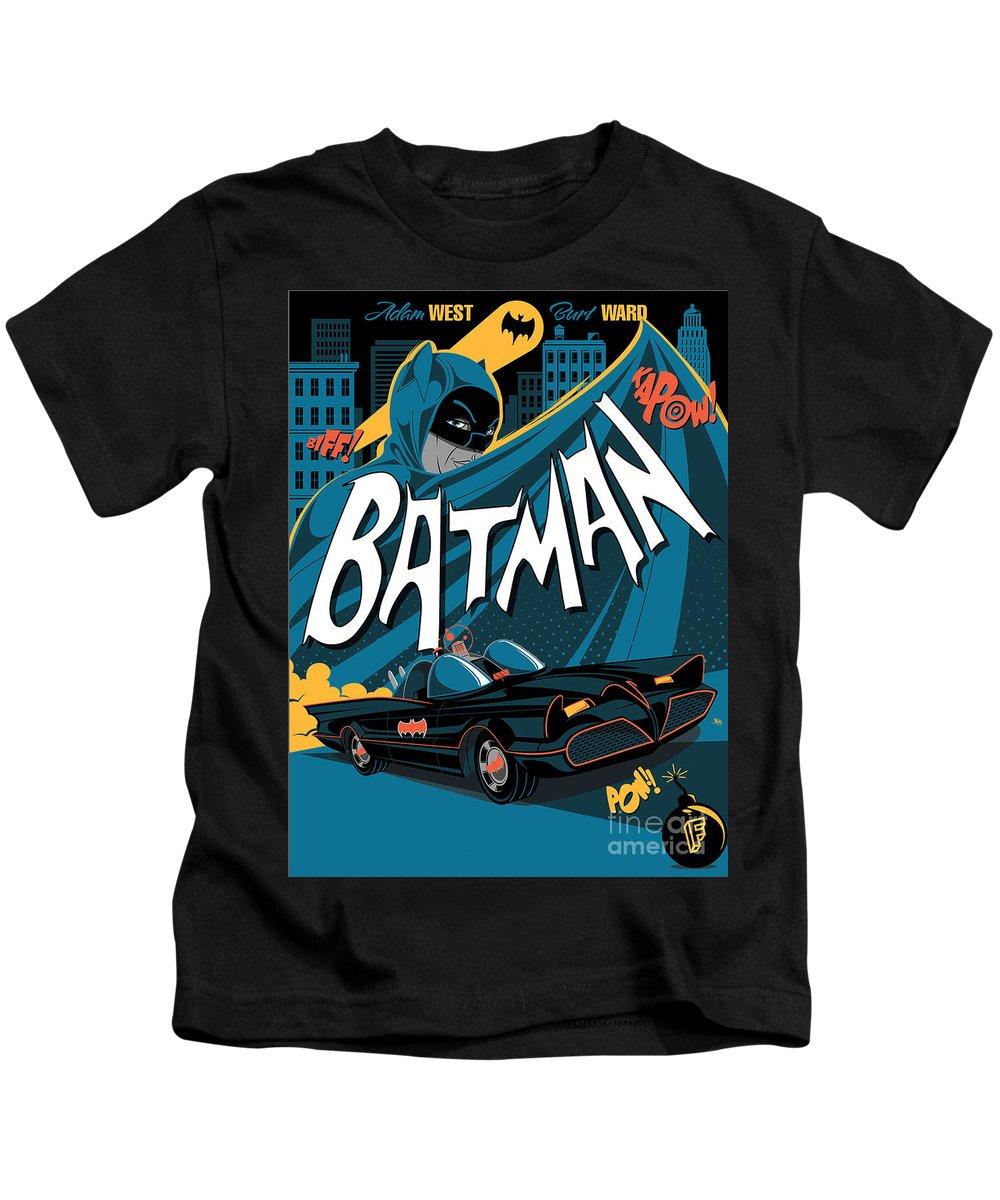 Batman Art Kids T-Shirt featuring the digital art Batman Art by Hannah Dori