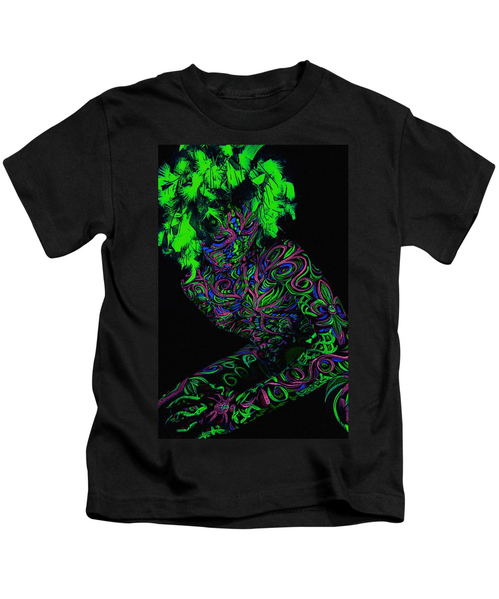 Body Art Kids T-Shirt featuring the painting Black Light by Thomas Oliver