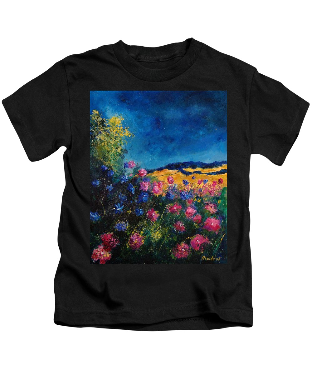 Flowers Kids T-Shirt featuring the painting Blue And Pink Flowers by Pol Ledent