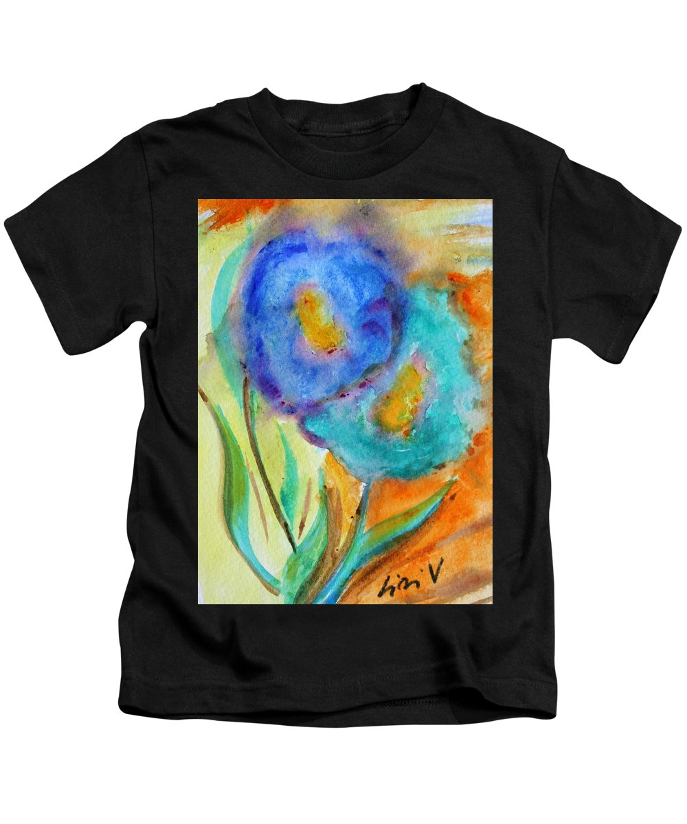 Flowers Kids T-Shirt featuring the painting Blue Flowers by Luiza Vizoli