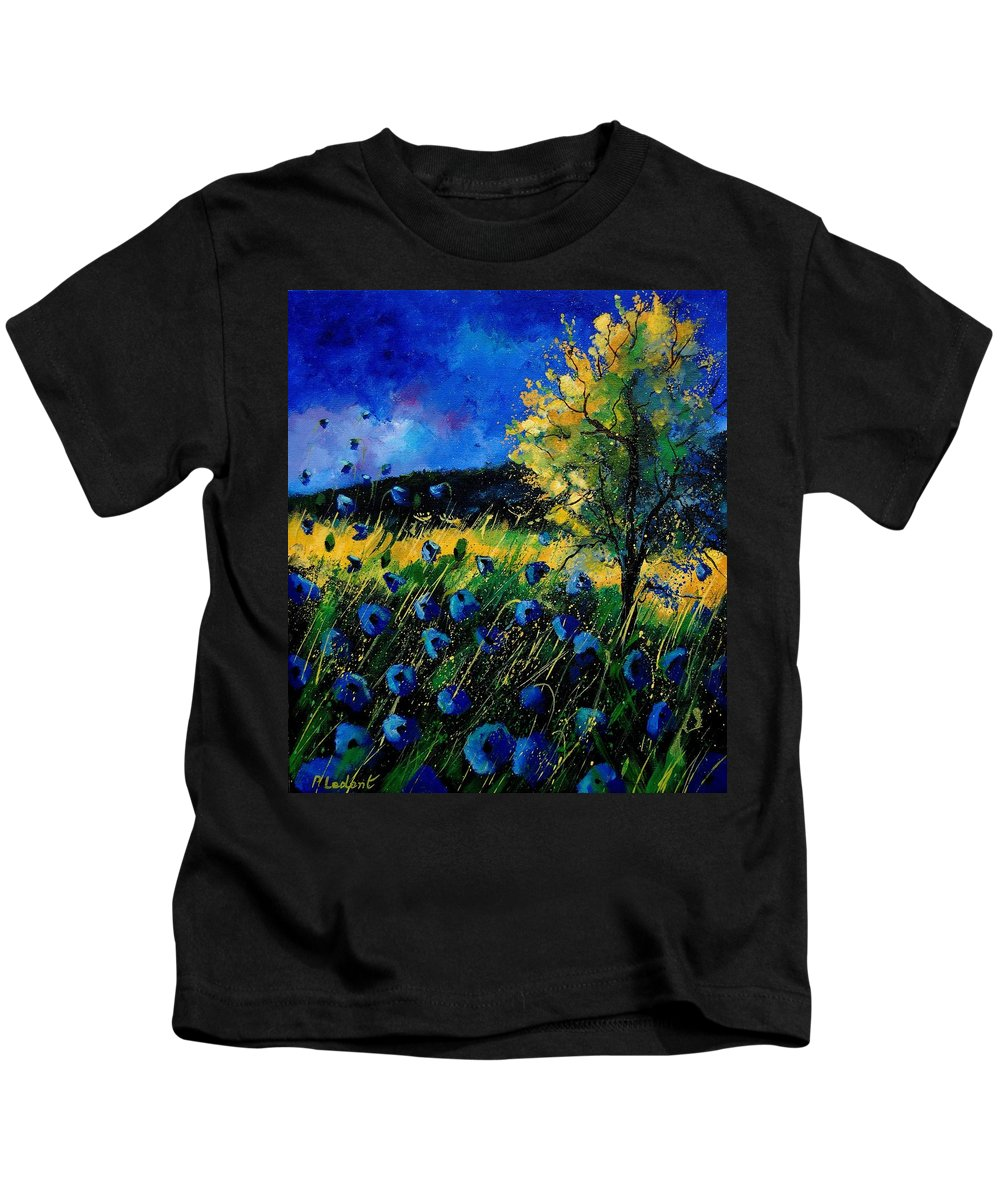 Poppies Kids T-Shirt featuring the painting Blue Poppies by Pol Ledent