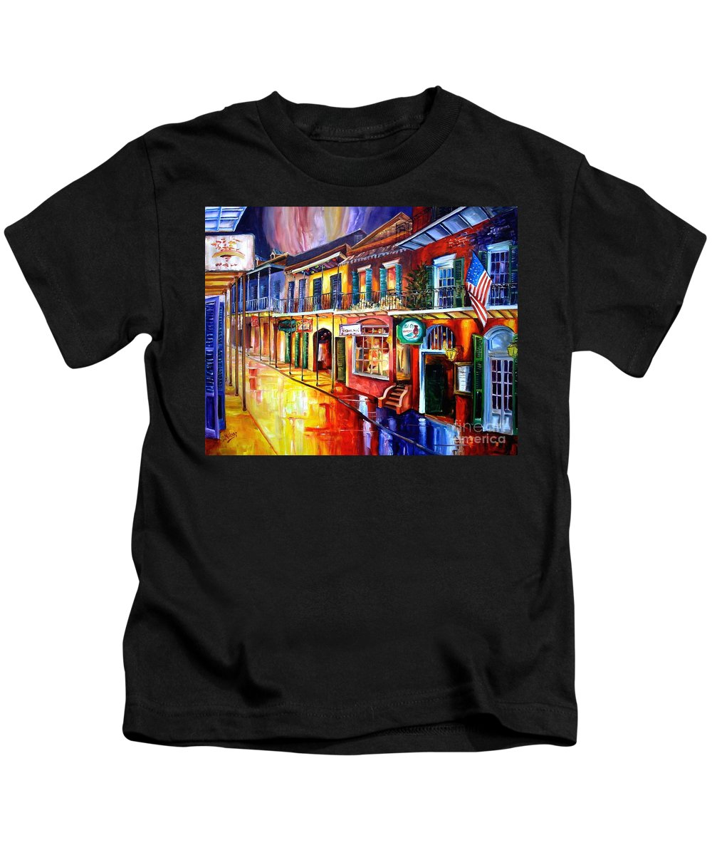 New Orleans Kids T-Shirt featuring the painting Bourbon Street Red by Diane Millsap
