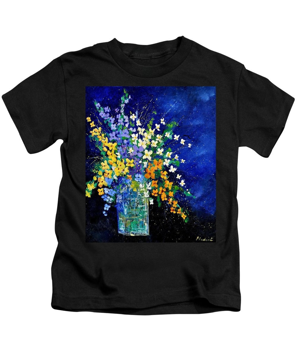 Flowers Kids T-Shirt featuring the painting Bunch 0140 by Pol Ledent