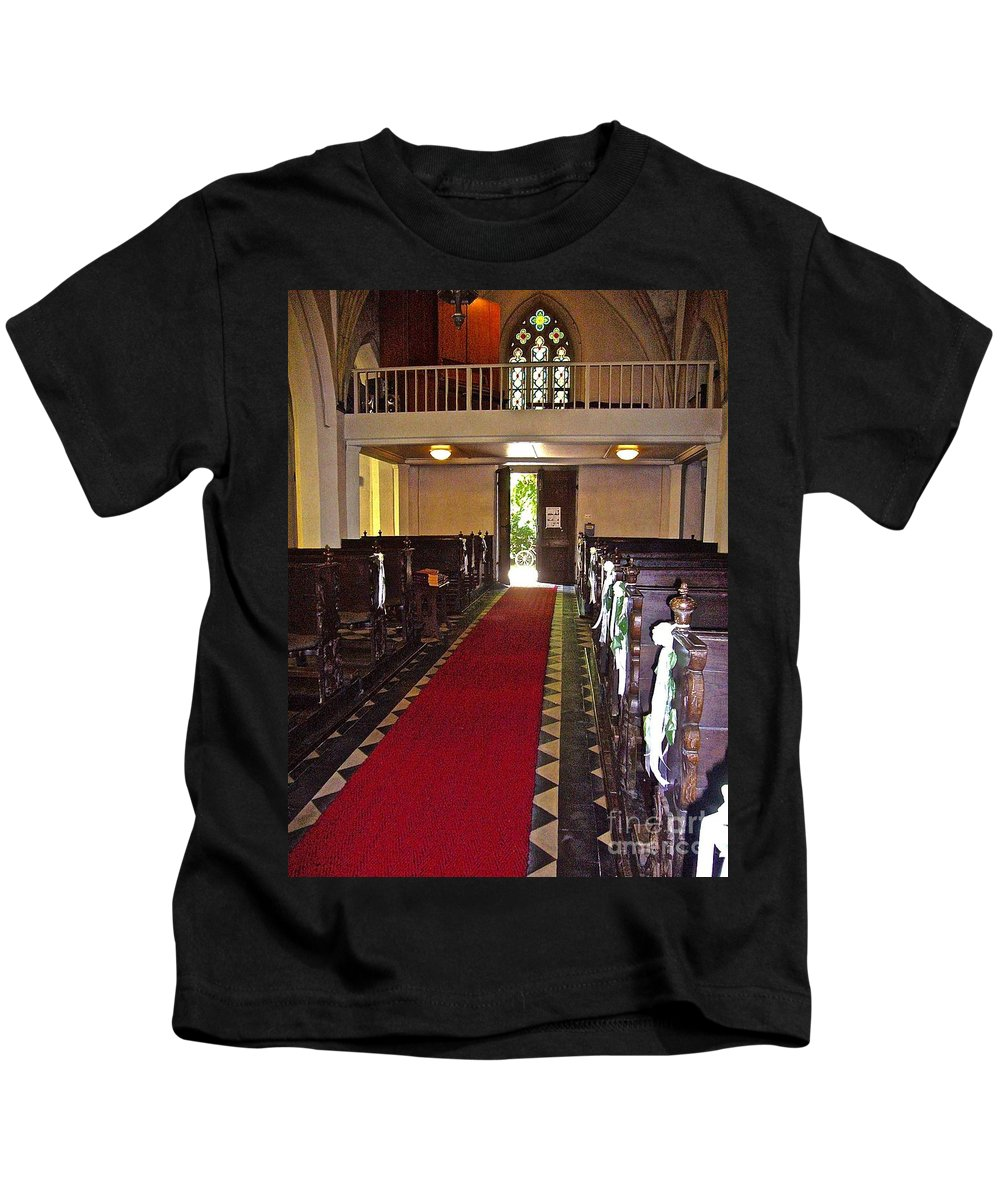 Church Benches Kids T-Shirt featuring the photograph Chapel by Elisabeth Derichs