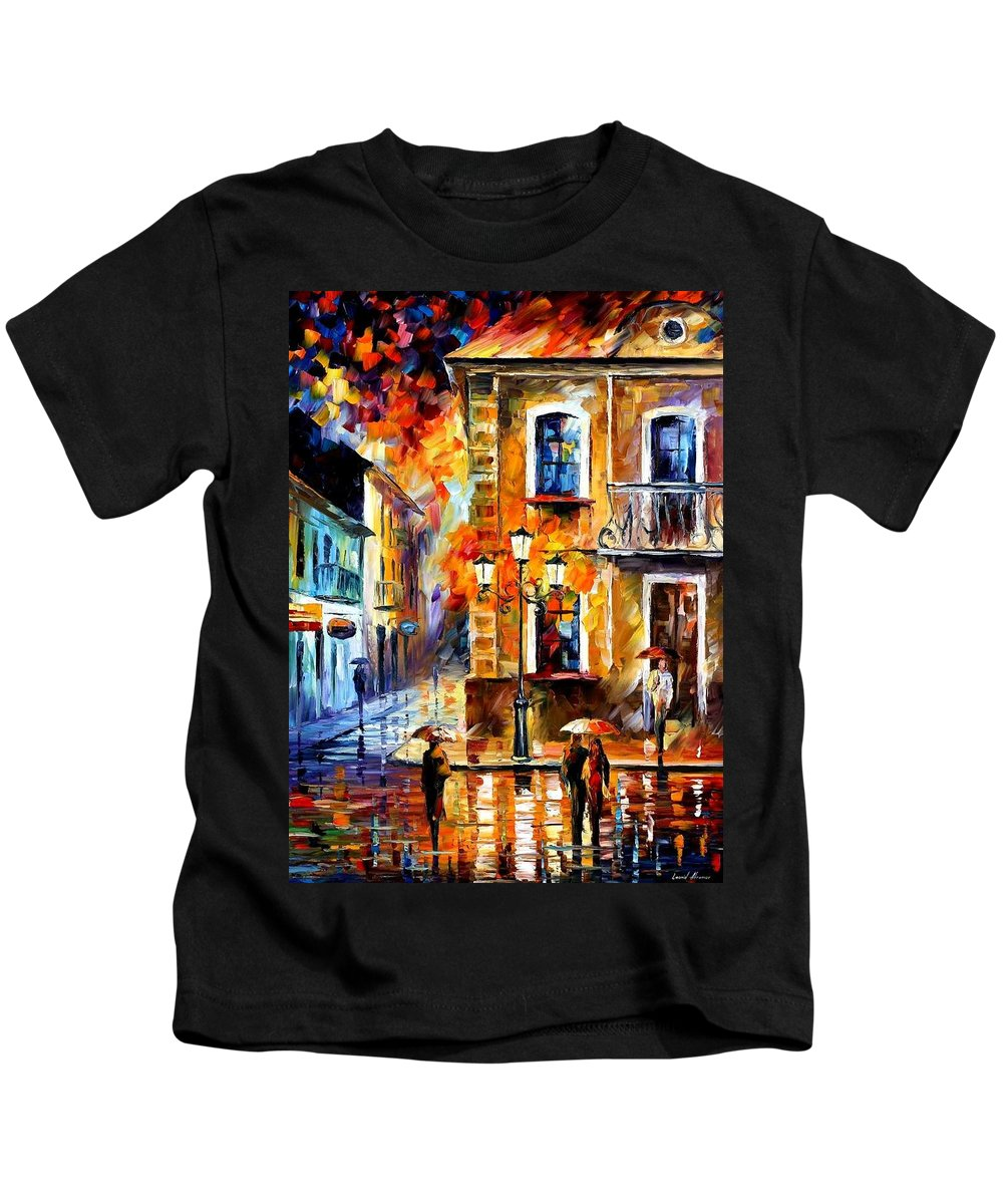 Afremov Kids T-Shirt featuring the painting Charming Night by Leonid Afremov