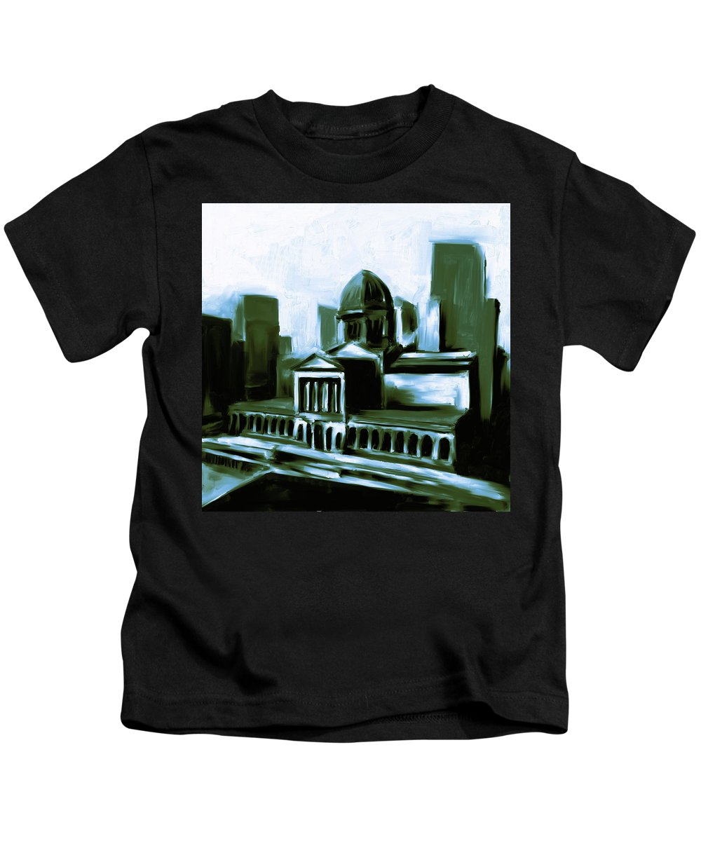 Chicago Kids T-Shirt featuring the painting Chicago Federal Building 540 3 by Mawra Tahreem