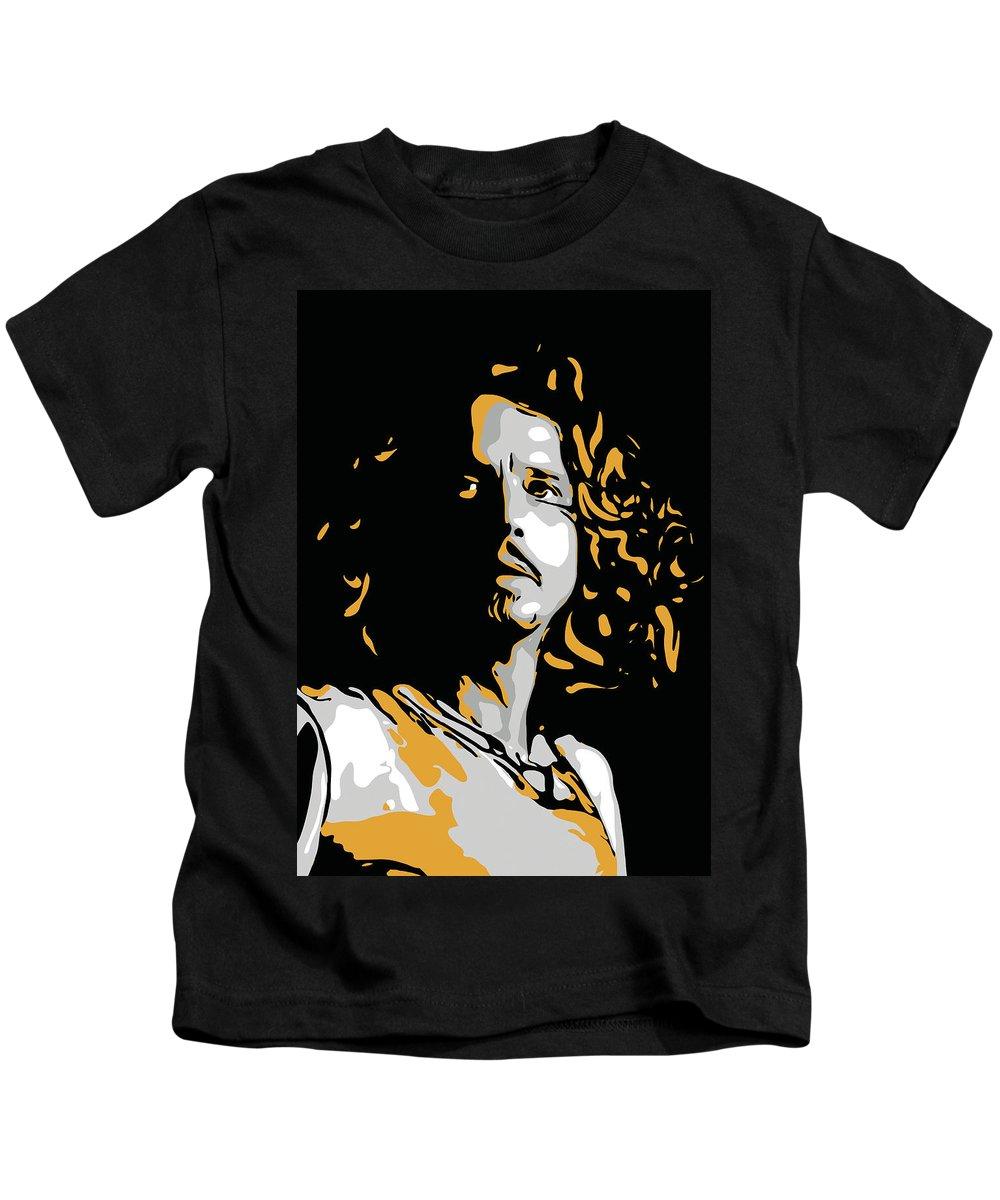 Chris Cornell Kids T-Shirt featuring the digital art Chris Cornell by Greatom London