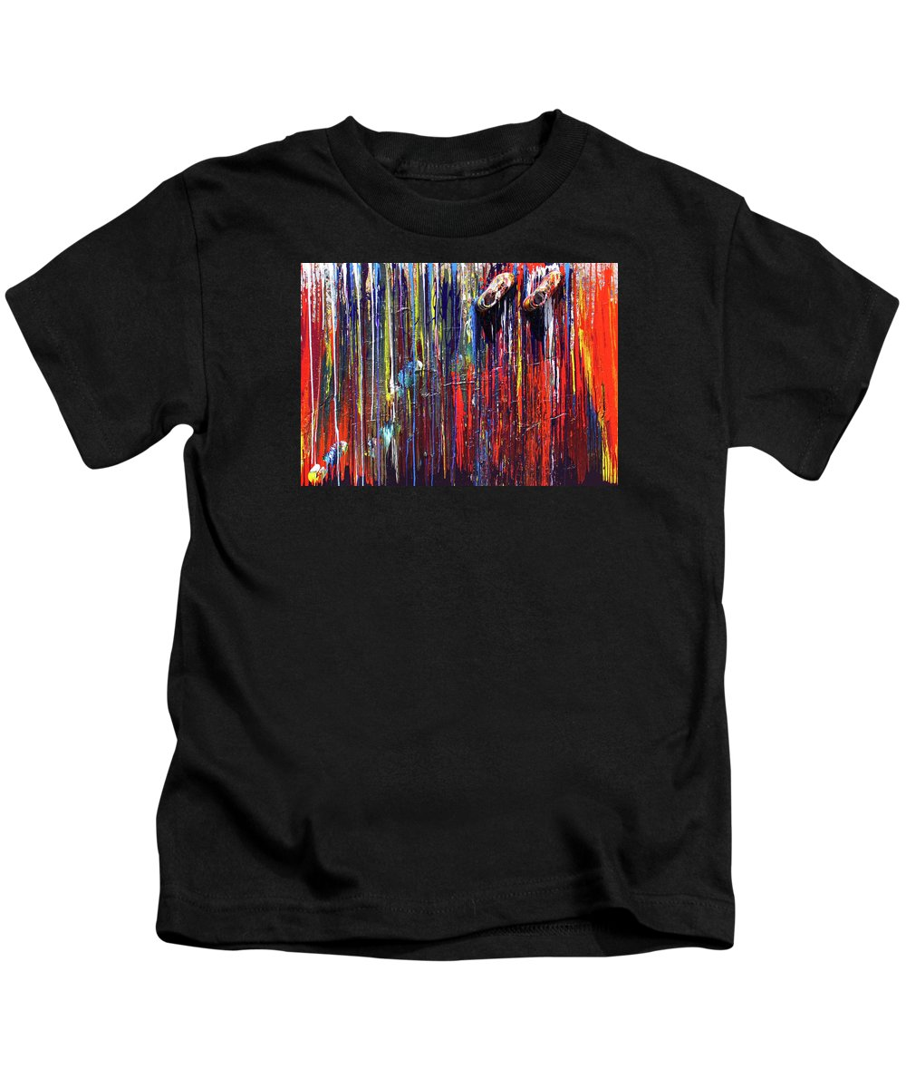 Fusionart Kids T-Shirt featuring the painting Climbing The Wall by Ralph White