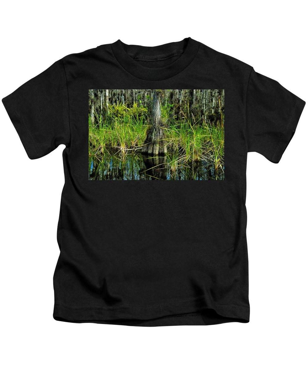 Cypress Trees Kids T-Shirt featuring the painting Cypress Tree by David Lee Thompson
