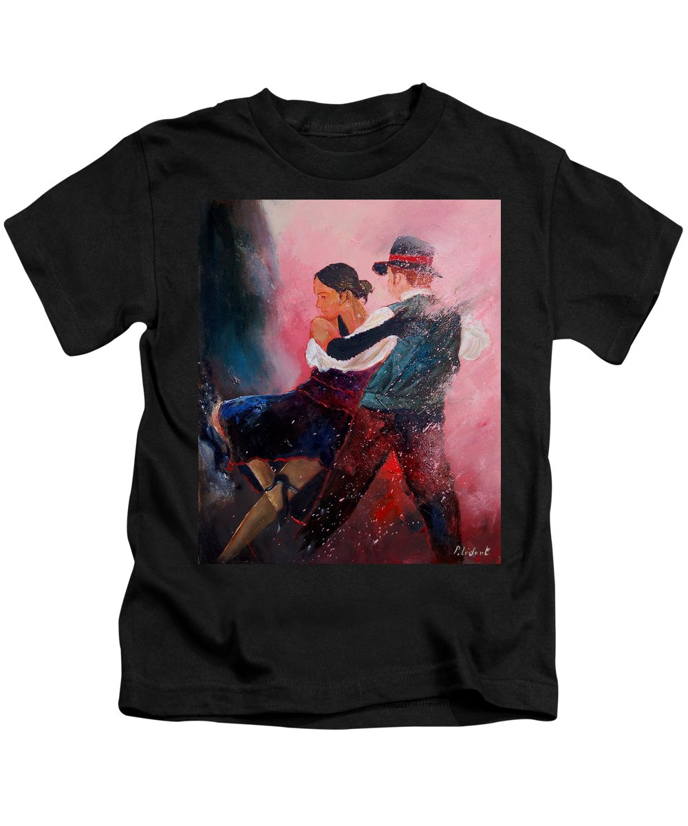 Music Kids T-Shirt featuring the painting Dancing Tango by Pol Ledent