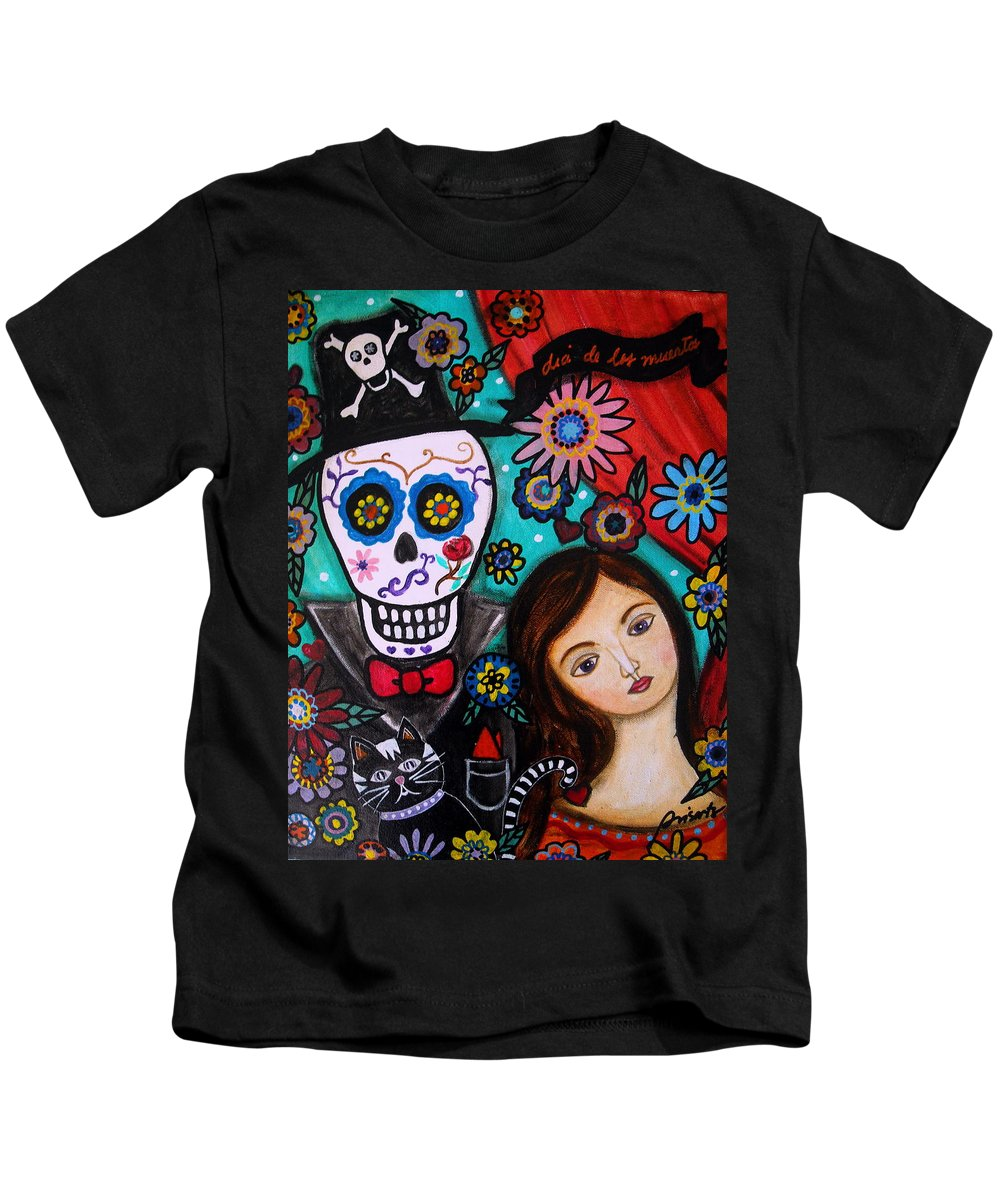 Mexican Kids T-Shirt featuring the painting Day Of The Dead by Pristine Cartera Turkus